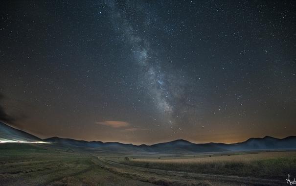 Фото обои поле, холмы, Млечный Путь