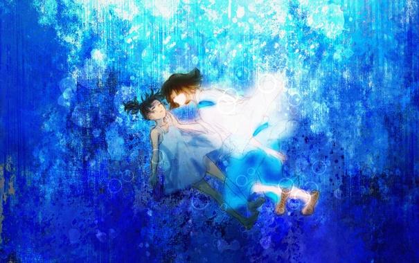 Фото обои аниме, арт, девочка, парень, Хаяо Миядзаки, дух реки, Haku