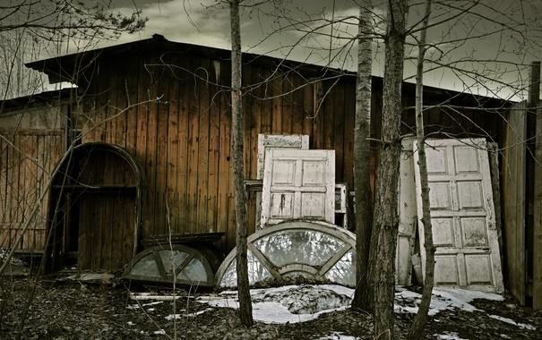 Фото обои стекло, снег, деревья, ветки, доски, Небо, дверь