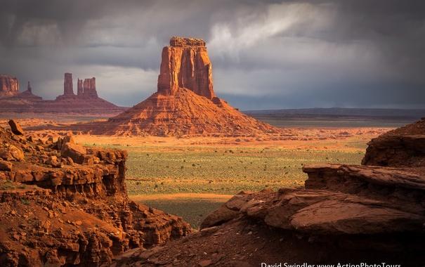 Фото обои тучи, небо, скалы, долина монументов