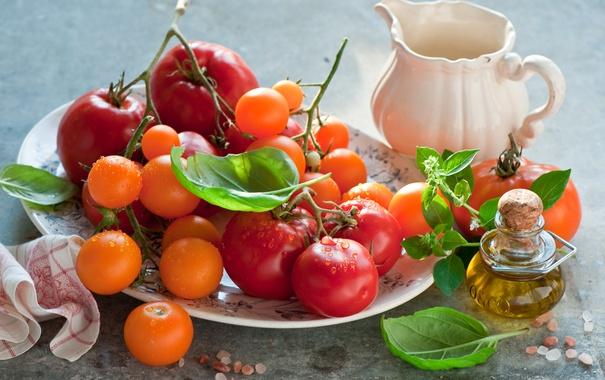 Фото обои зелень, масло, помидоры