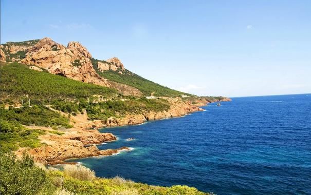 Фото обои море, камни, скалы, побережье, Франция, Saint-Raphael