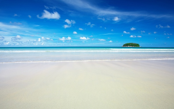 Фото обои beach, Landscape, sky, sea, clouds, sand
