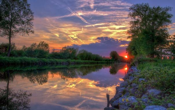 Фото обои небо, облака, деревья, закат, пейзаж. природа