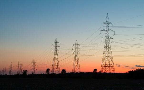 Фото обои силуэт, сумерки, линии электропередачи высокого напряжения