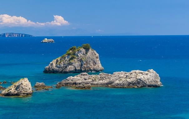 Фото обои море, небо, камни, скалы, Греция, горизонт, рифы