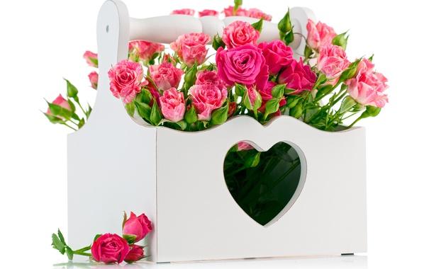Фото обои праздник, коробка, сердце, розы, букет, colorful, beautiful