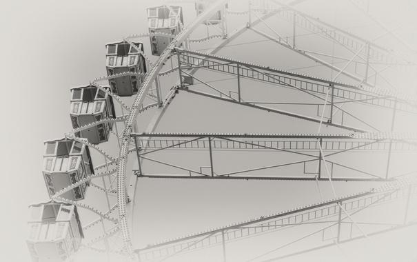 Фото обои карусель, город, фон