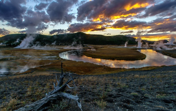 Фото обои Sunset, Apocalypse Now, Yellowstone national park