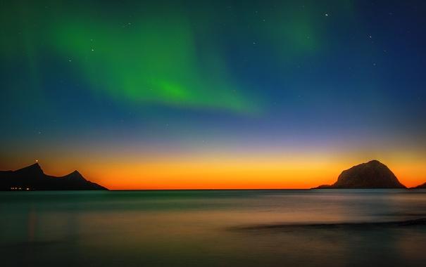 Фото обои море, горы, ночь, огни, северное сияние, зарево