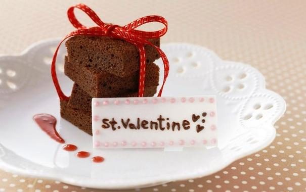 Фото обои валентинка, ленточка, Торт, скатерть в горошек