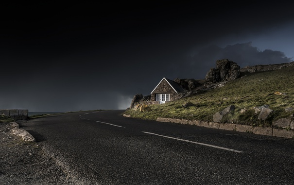 Фото обои дорога, Dark, Light
