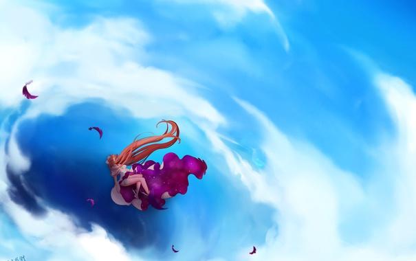 Фото обои небо, девушка, облака, аниме, перья, арт, mahou shoujo madoka magica