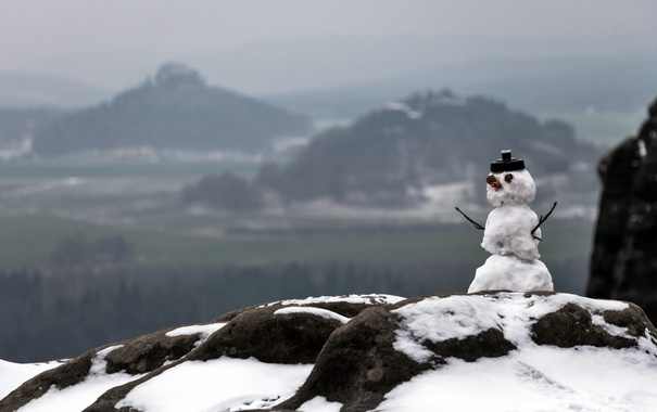 Фото обои зима, природа, снеговик