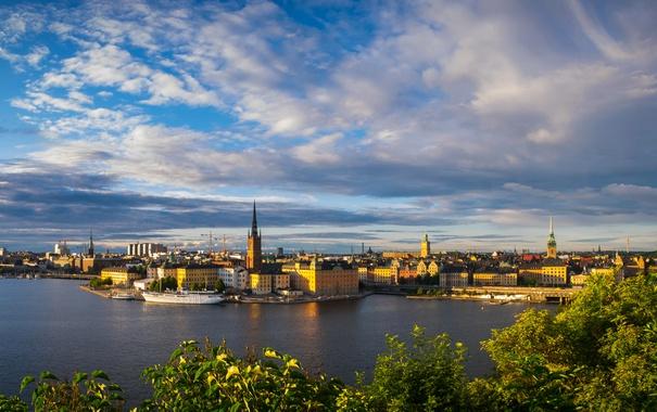 Фото обои река, дома, корабли, Швеция, набережная, Stockholm