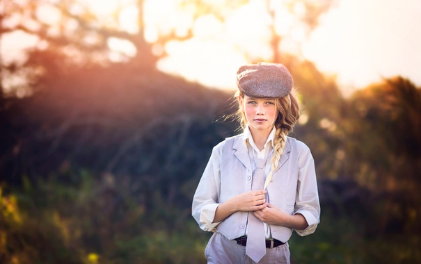 Фото обои галстук, девочка, кепка, Julia Altork