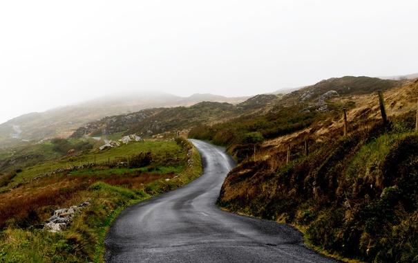 Фото обои road, fog, hills