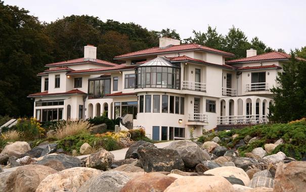 Фото обои дизайн, камни, дом, особняк, деревья