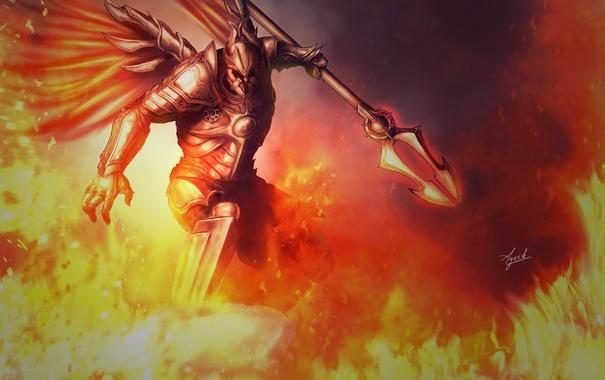 Фото обои оружие, огонь, крылья, арт, Diablo, доспех, Imperius