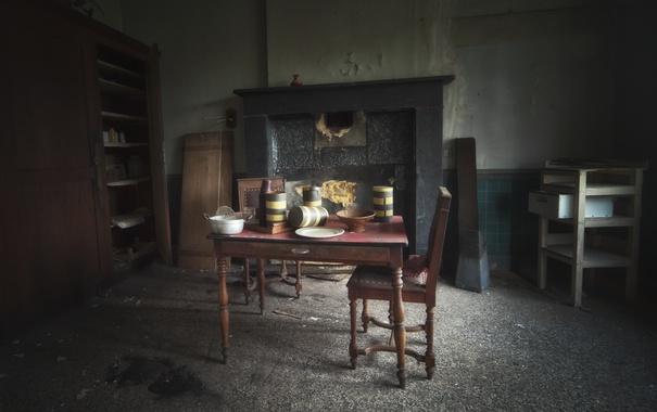 Фото обои стол, комната, стул, камин