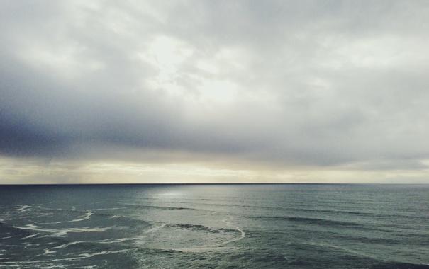 Фото обои waves, sea, clouds, horizon, sunlight, rainy