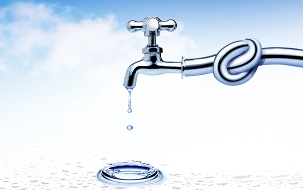 Фото обои вода, кран, узел