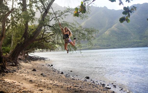 Фото обои лето, девушка, качели, настроение, берег