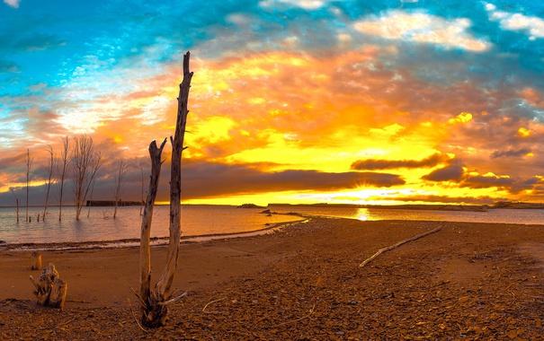 Фото обои море, берег, утро