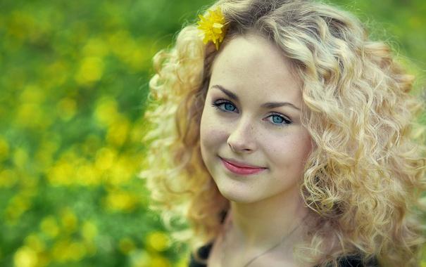 Фото обои цветок, свет, лицо, улыбка, настроение, милая, весна