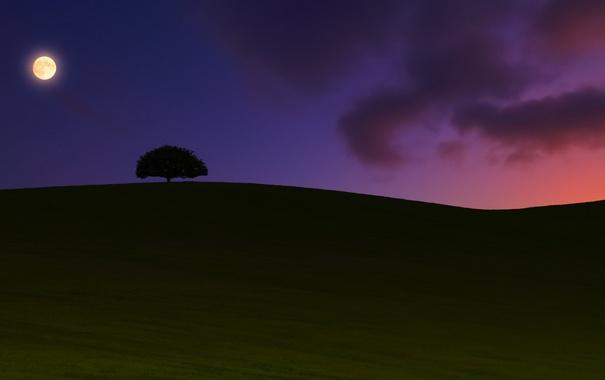 Фото обои пейзаж, ночь, sunset, Moonrise