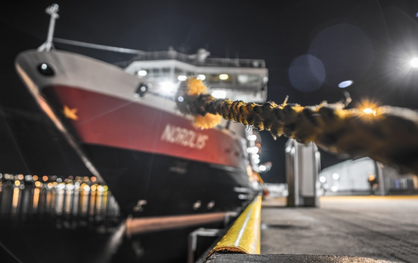 Фото обои ночь, город, корабль, порт