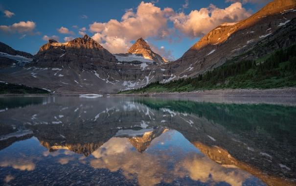 Фото обои озеро, отражение, снег, горы, природа, облака