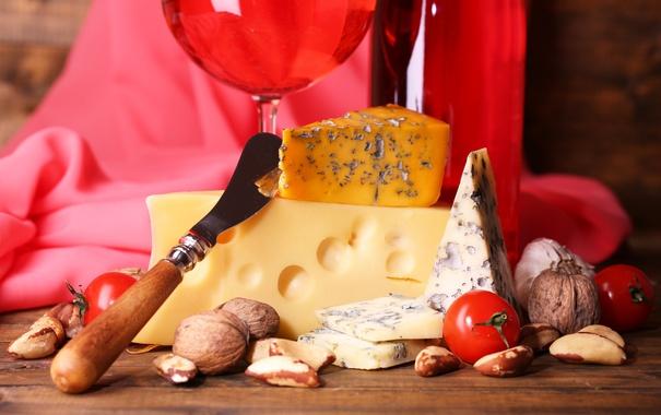 Фото обои сыр, нож, орехи, помидоры