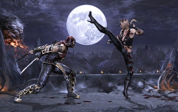 Фото обои Mortal Kombat, Scorpion, Sonya Blade, Komplete Edition