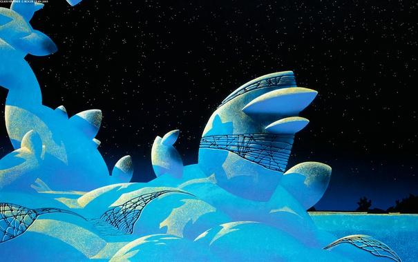 Фото обои зима, небо, звезды, снег, сугробы