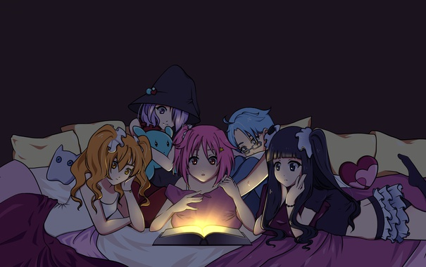 Фото обои свет, темнота, девушки, аниме, арт, книга, houkago no pleiades