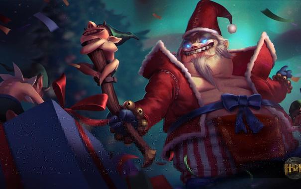 Фото обои праздник, подарок, новый год, жезл, Heroes of Newerth, King, Bad Santa