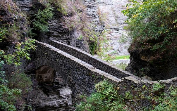 Фото обои скалы, деревья, природа, мост, караульный мост, sentry bridge