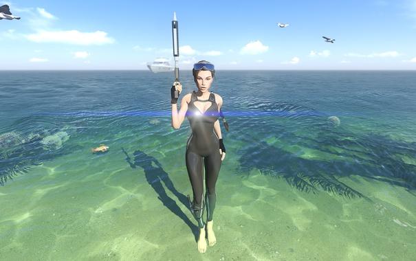 Фото обои море, девушка, берег, костюм, lara croft, tomb raider, гарпун