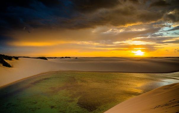 Фото обои облака, закат, бассейн, горизонт, дюны, Бразилия, Мараньян