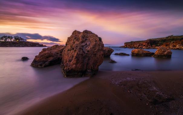 Фото обои море, камни, скалы, рассвет, побережье