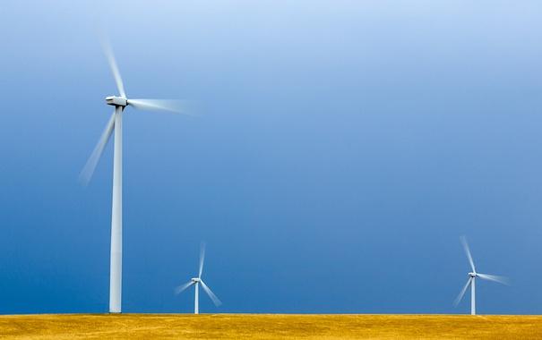 Фото обои поле, небо, ветряная мельница