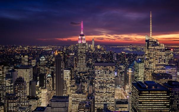 Фото обои City, Clouds, Sky, Purple, New York, Night, Empire State Building