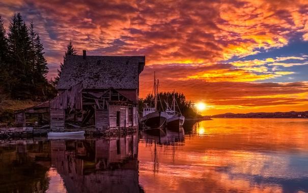 Фото обои закат, озеро, корабли