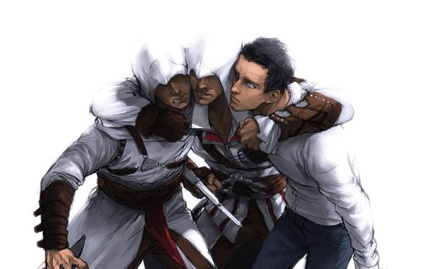 Фото обои Assassin's Creed, Эцио Аудиторе да Фиренце, Desmond Miles, Ezio Auditore da Firenze, Альтаир ибн Ла'Ахад, ...