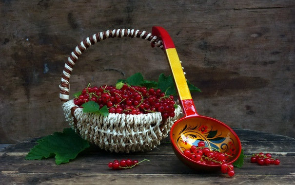 Фото обои корзина, смородина, красные ягоды, композиция