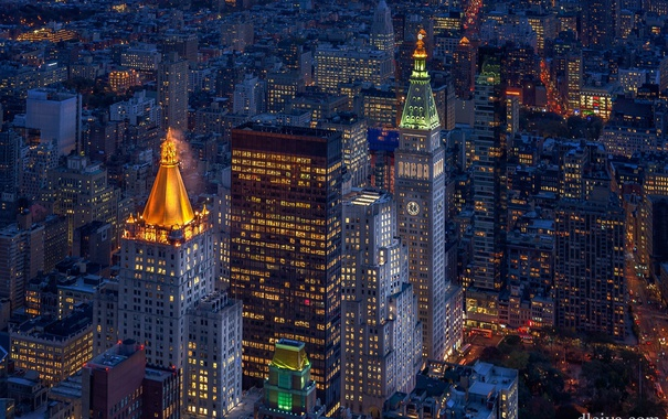 Фото обои огни, вечер, США, Нью - Йорк
