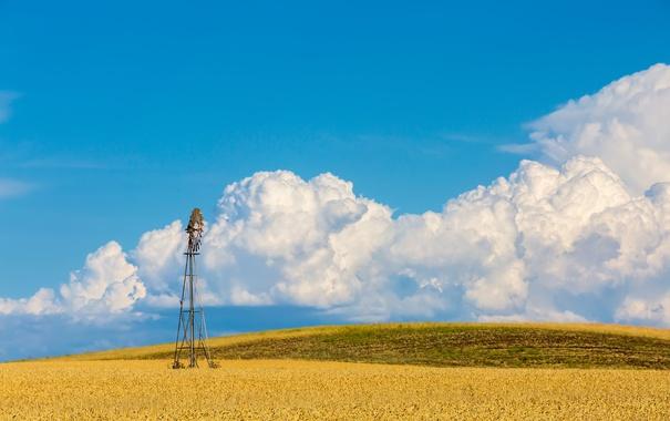 Фото обои небо, вода, облака, поля, ветряная мельница, фермы, насос