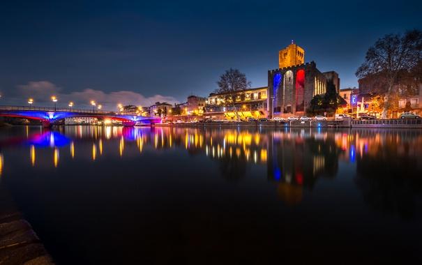 Фото обои ночь, мост, огни, река, Франция, башня, Лангедок-Руссильон