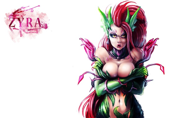 Фото обои LoL, League of Legends, простой фон, Zyra
